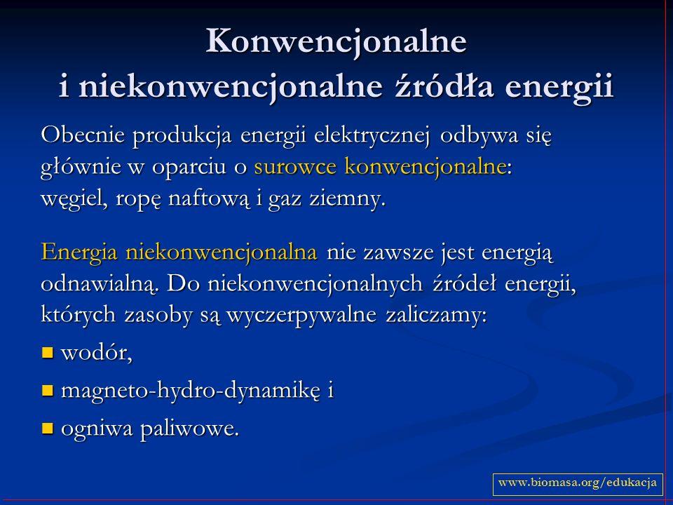 Konwencjonalne i niekonwencjonalne źródła energii Obecnie produkcja energii elektrycznej odbywa się głównie w oparciu o surowce konwencjonalne: węgiel