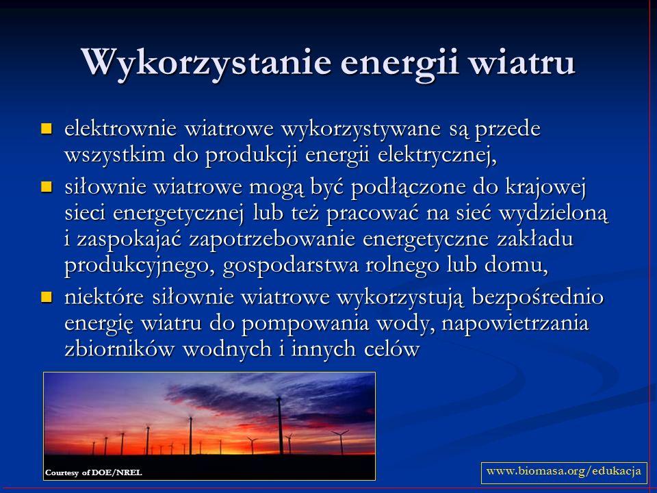 Wykorzystanie energii wiatru elektrownie wiatrowe wykorzystywane są przede wszystkim do produkcji energii elektrycznej, elektrownie wiatrowe wykorzyst
