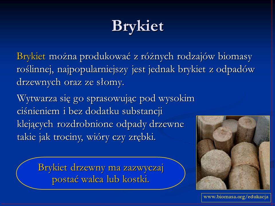 Brykiet Brykiet można produkować z różnych rodzajów biomasy roślinnej, najpopularniejszy jest jednak brykiet z odpadów drzewnych oraz ze słomy. www.bi
