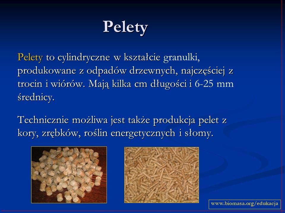 Pelety Pelety to cylindryczne w kształcie produkowane z odpadów drzewnych, najczęściej z trocin i wiórów. Mają kilka cm długości i średnicy. Pelety to