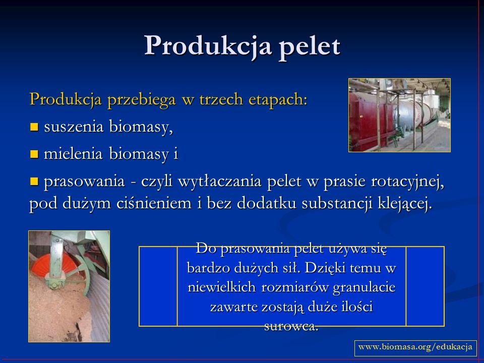 Produkcja pelet Produkcja przebiega w trzech etapach: suszenia biomasy, suszenia biomasy, mielenia biomasy i mielenia biomasy i prasowania - czyli wyt