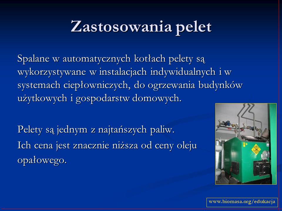Zastosowania pelet Spalane w automatycznych kotłach pelety są wykorzystywane w instalacjach indywidualnych i w systemach ciepłowniczych, do ogrzewania
