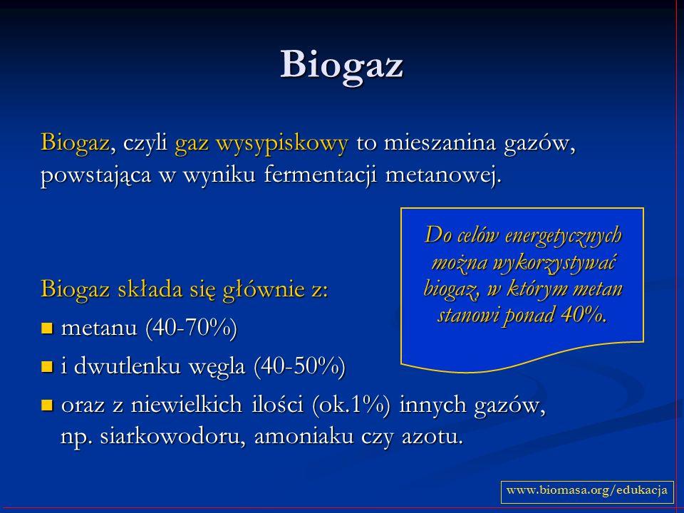 Biogaz Biogaz, czyli gaz wysypiskowy to mieszanina gazów, powstająca w wyniku fermentacji metanowej. Biogaz składa się głównie z: metanu (40-70%) meta