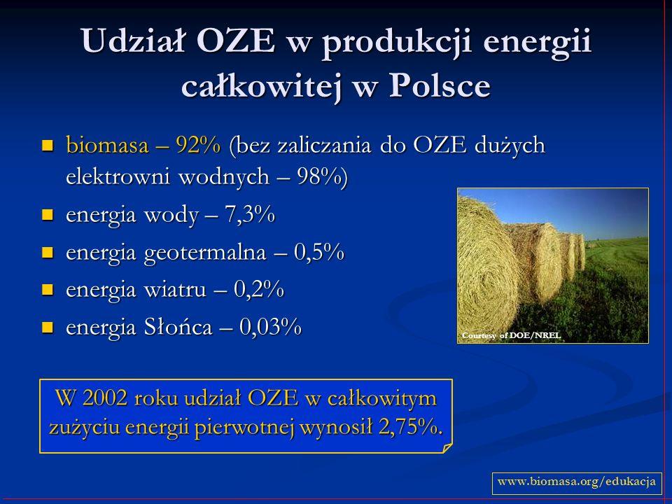 Udział OZE w produkcji energii całkowitej w Polsce biomasa – 92% (bez zaliczania do OZE dużych elektrowni wodnych – 98%) biomasa – 92% (bez zaliczania
