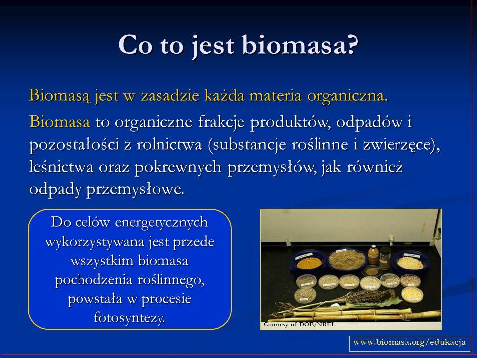 Co to jest biomasa? Biomasą jest w zasadzie każda materia organiczna. www.biomasa.org/edukacja Do celów energetycznych wykorzystywana jest przede wszy