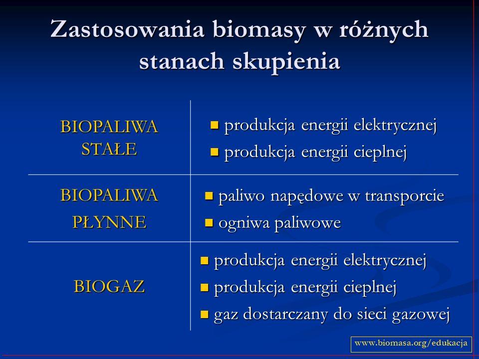 Zastosowania biomasy w różnych stanach skupienia BIOPALIWA STAŁE produkcja energii elektrycznej produkcja energii elektrycznej produkcja energii ciepl