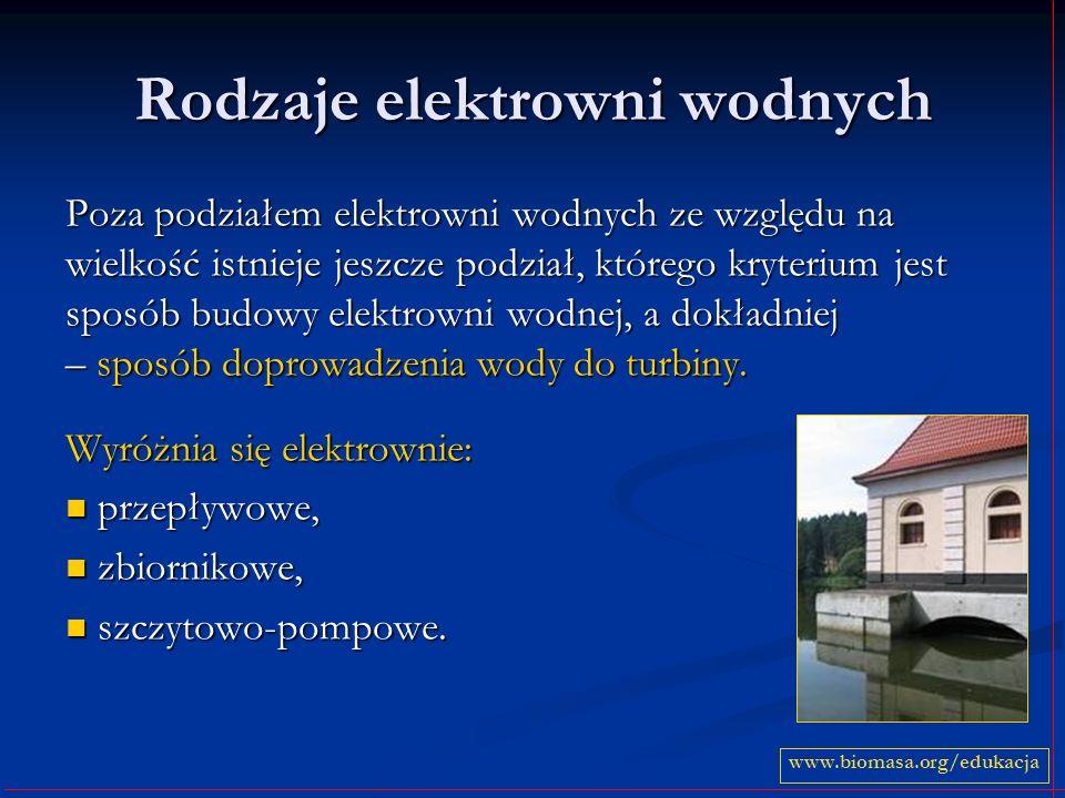Rodzaje elektrowni wodnych Poza podziałem elektrowni wodnych ze względu na wielkość istnieje jeszcze podział, którego kryterium jest sposób budowy ele