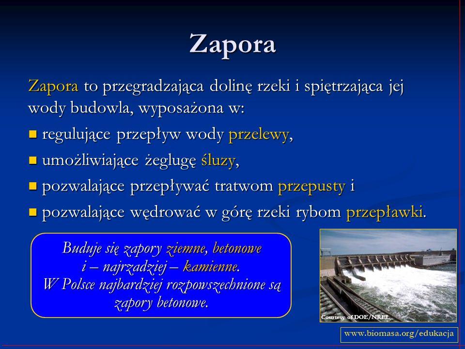 Zapora Zapora to przegradzająca dolinę rzeki i spiętrzająca jej wody budowla, wyposażona w: regulujące przepływ wody przelewy, regulujące przepływ wod