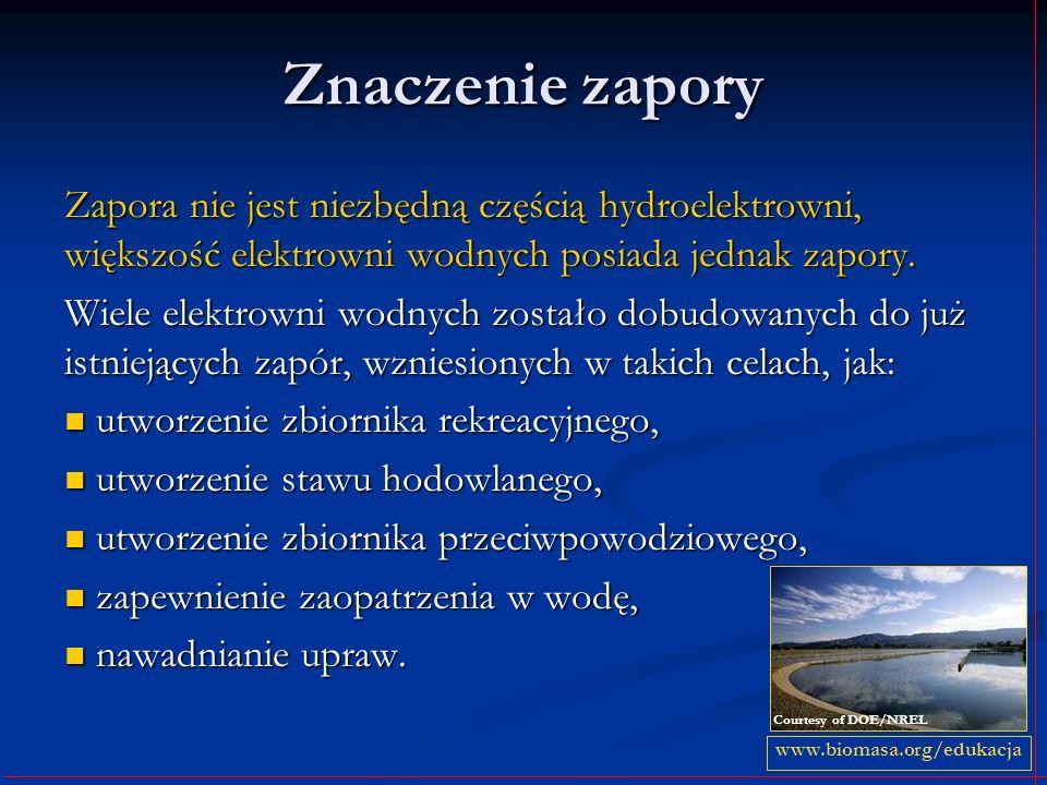 Znaczenie zapory Zapora nie jest niezbędną częścią hydroelektrowni, większość elektrowni wodnych posiada jednak zapory. Wiele elektrowni wodnych zosta
