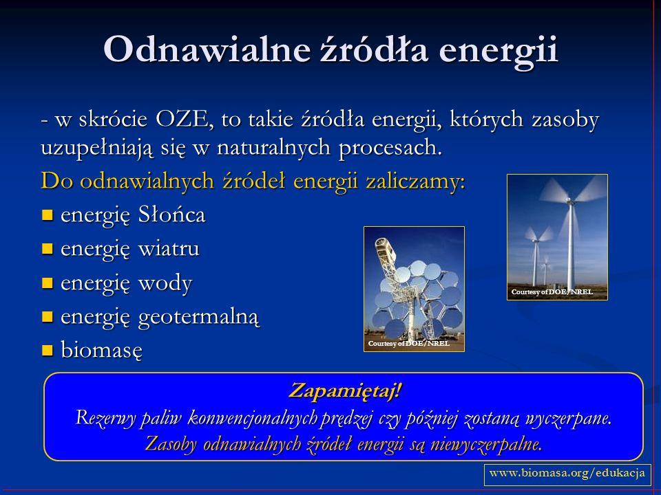 Odnawialne źródła energii - w skrócie OZE, to takie źródła energii, których zasoby uzupełniają się w naturalnych procesach. Do odnawialnych źródeł ene