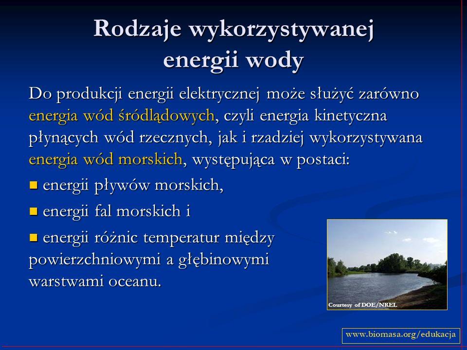 Rodzaje wykorzystywanej energii wody Do produkcji energii elektrycznej może służyć zarówno energia wód śródlądowych, czyli energia kinetyczna płynącyc