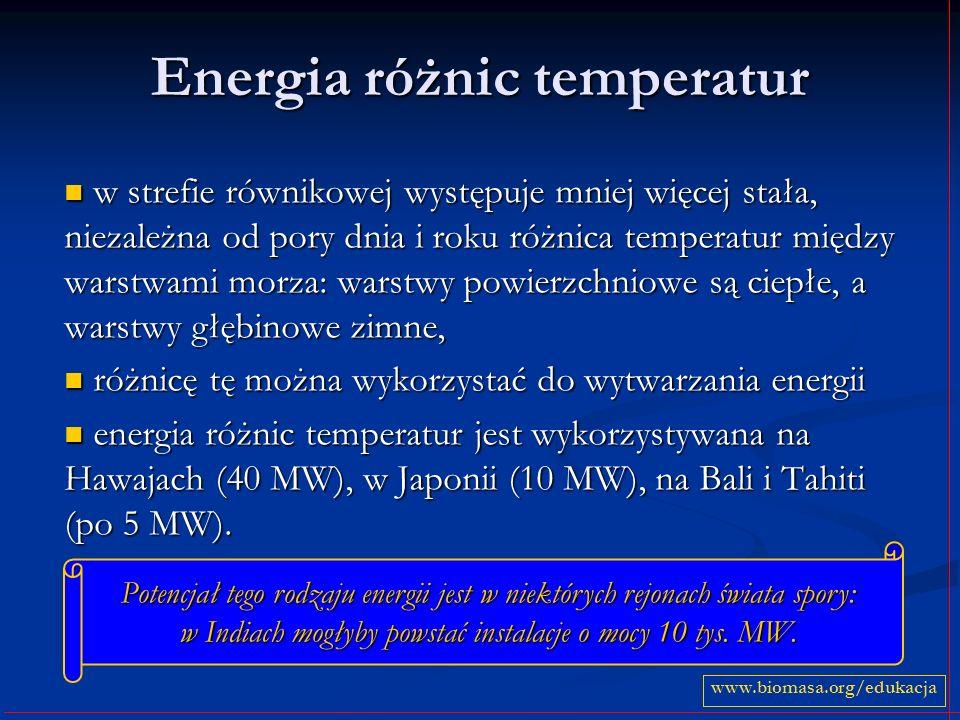 Energia różnic temperatur w strefie równikowej występuje mniej więcej stała, niezależna od pory dnia i roku różnica temperatur między warstwami morza: