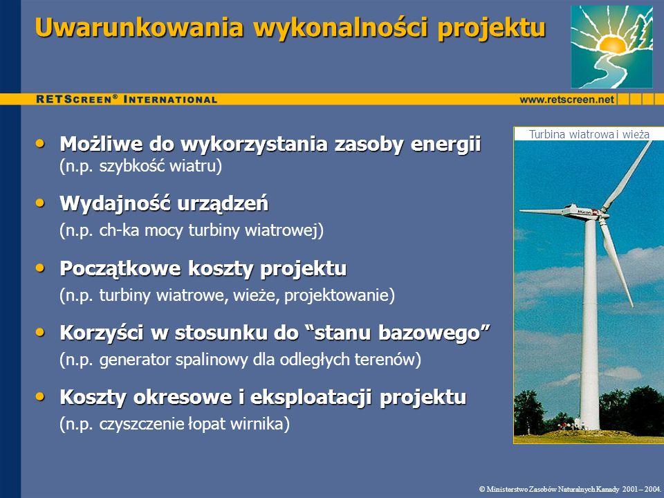 Uwarunkowania wykonalności projektu Turbina wiatrowa i wieża © Ministerstwo Zasobów Naturalnych Kanady 2001 – 2004.