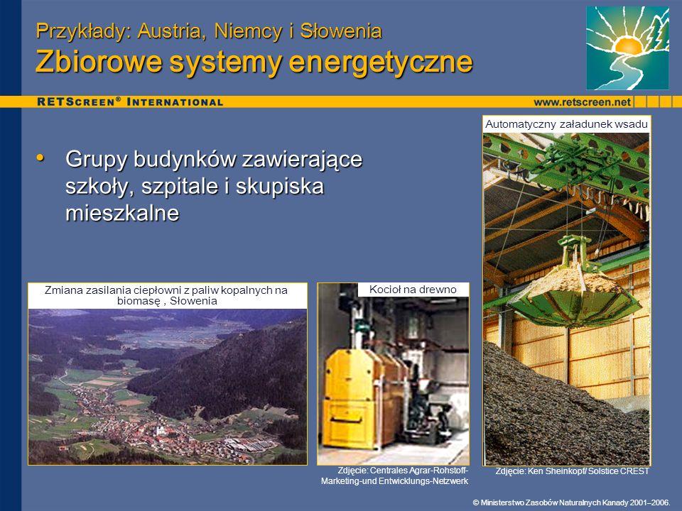 © Ministerstwo Zasobów Naturalnych Kanady 2001–2006. Przykłady: Austria, Niemcy i Słowenia Zbiorowe systemy energetyczne Grupy budynków zawierające sz