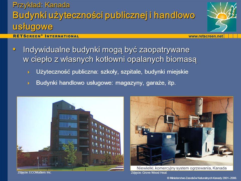 © Ministerstwo Zasobów Naturalnych Kanady 2001–2006. Przykład: Kanada Budynki użyteczności publicznej i handlowo usługowe Indywidualne budynki mogą by