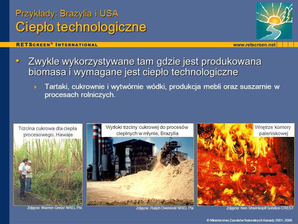 © Ministerstwo Zasobów Naturalnych Kanady 2001–2006. Przykłady: Brazylia i USA Ciepło technologiczne Zwykle wykorzystywane tam gdzie jest produkowana