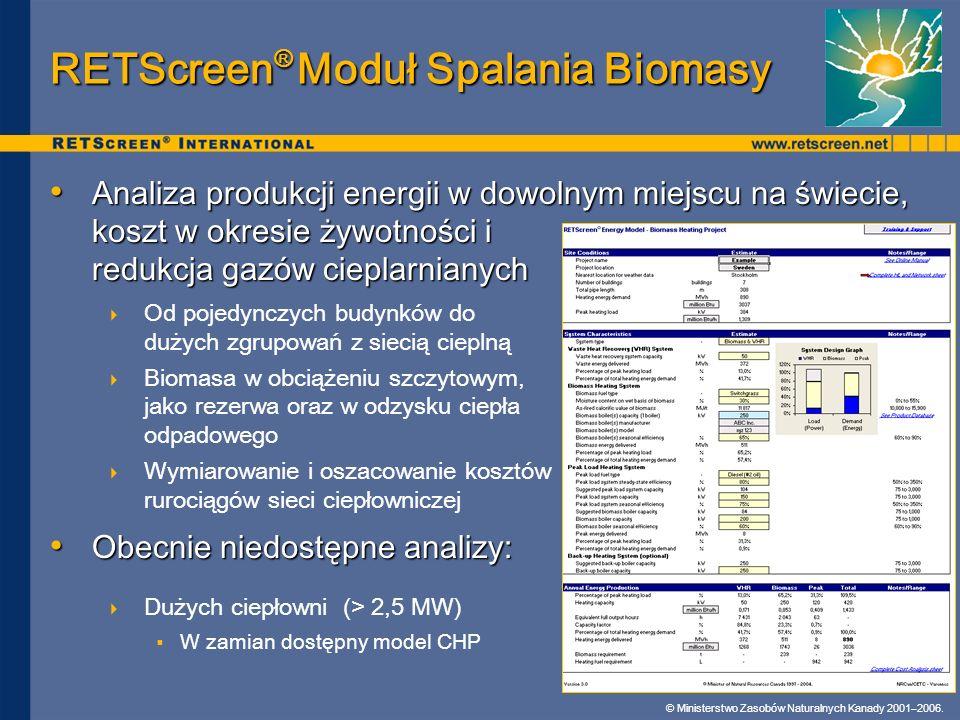 © Ministerstwo Zasobów Naturalnych Kanady 2001–2006. RETScreen ® Moduł Spalania Biomasy Analiza produkcji energii w dowolnym miejscu na świecie, koszt