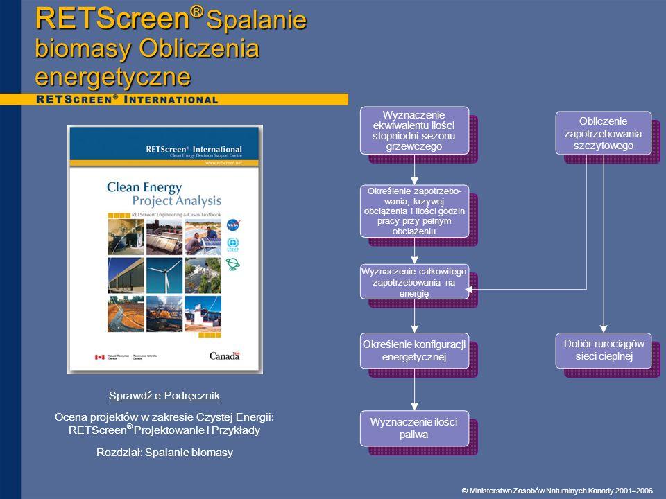 © Ministerstwo Zasobów Naturalnych Kanady 2001–2006. RETScreen ® Spalanie biomasy Obliczenia energetyczne Sprawdź e-Podręcznik Ocena projektów w zakre