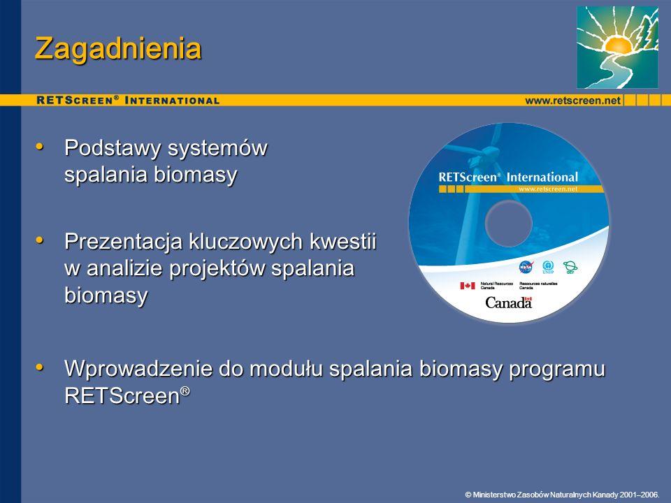 © Ministerstwo Zasobów Naturalnych Kanady 2001–2006. Zagadnienia Podstawy systemów spalania biomasy Podstawy systemów spalania biomasy Prezentacja klu