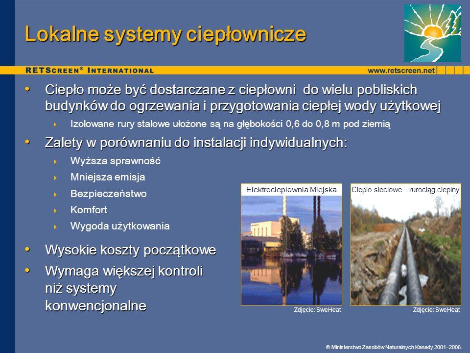 © Ministerstwo Zasobów Naturalnych Kanady 2001–2006. Lokalne systemy ciepłownicze Ciepło może być dostarczane z ciepłowni do wielu pobliskich budynków