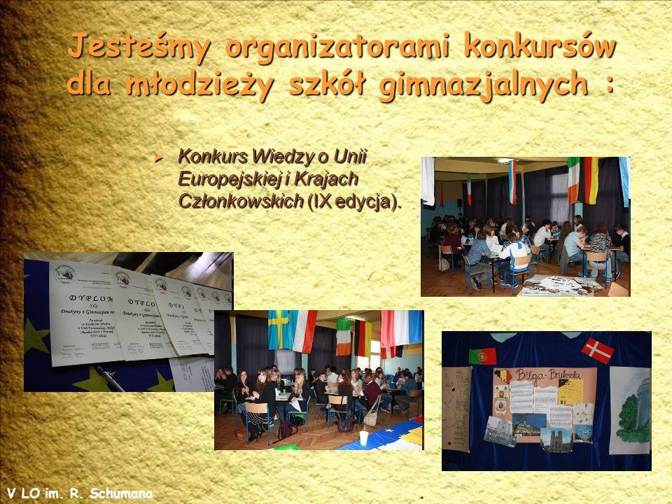Jesteśmy organizatorami konkursów dla młodzieży szkół gimnazjalnych : Konkurs Wiedzy o Unii Europejskiej i Krajach Członkowskich (IX edycja).