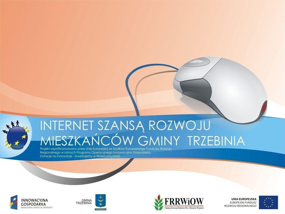 Projekt Internet szansą rozwoju mieszkańców gminy Trzebinia zrealizowano w celu wyrównania szans osób zagrożonych wykluczeniem informatycznym.