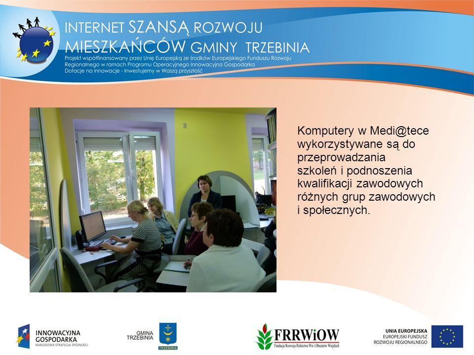 Komputery w Medi@tece wykorzystywane są do przeprowadzania szkoleń i podnoszenia kwalifikacji zawodowych różnych grup zawodowych i społecznych.