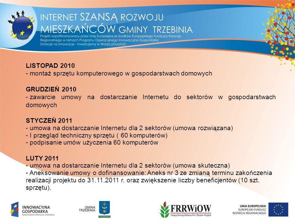 LISTOPAD 2010 - montaż sprzętu komputerowego w gospodarstwach domowych GRUDZIEŃ 2010 - zawarcie umowy na dostarczanie Internetu do sektorów w gospodarstwach domowych STYCZEŃ 2011 - umowa na dostarczanie Internetu dla 2 sektorów (umowa rozwiązana) - I przegląd techniczny sprzętu ( 60 komputerów) - podpisanie umów użyczenia 60 komputerów LUTY 2011 - umowa na dostarczanie Internetu dla 2 sektorów (umowa skuteczna) - Aneksowanie umowy o dofinansowanie: Aneks nr 3 ze zmianą terminu zakończenia realizacji projektu do 31.11.2011 r.