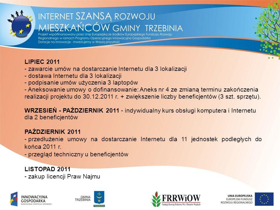LIPIEC 2011 - zawarcie umów na dostarczanie Internetu dla 3 lokalizacji - dostawa Internetu dla 3 lokalizacji - podpisanie umów użyczenia 3 laptopów - Aneksowanie umowy o dofinansowanie: Aneks nr 4 ze zmianą terminu zakończenia realizacji projektu do 30.12.2011 r.