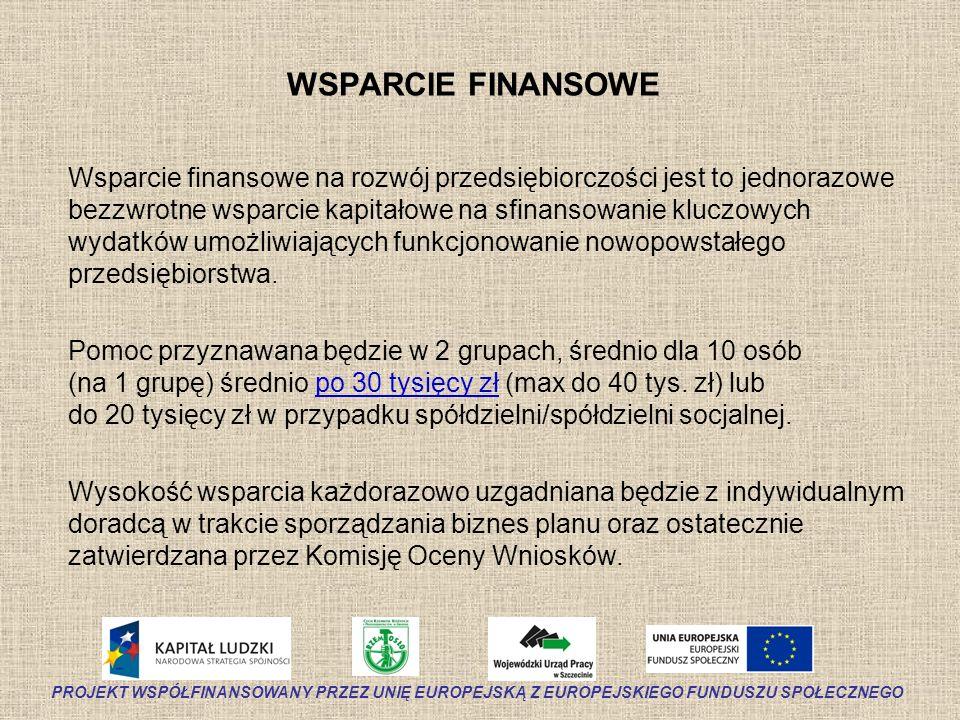 WSPARCIE FINANSOWE Wsparcie finansowe na rozwój przedsiębiorczości jest to jednorazowe bezzwrotne wsparcie kapitałowe na sfinansowanie kluczowych wyda