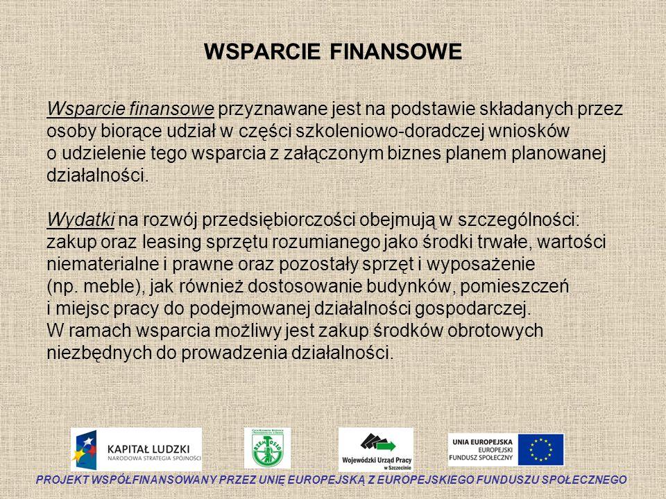WSPARCIE FINANSOWE Wsparcie finansowe przyznawane jest na podstawie składanych przez osoby biorące udział w części szkoleniowo-doradczej wniosków o ud