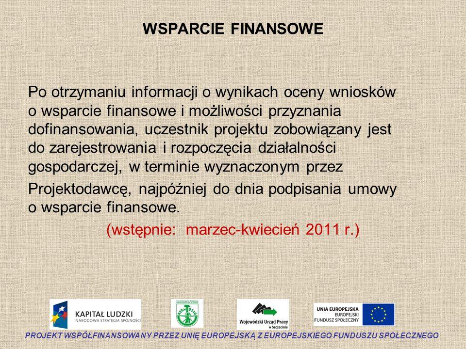 WSPARCIE FINANSOWE Po otrzymaniu informacji o wynikach oceny wniosków o wsparcie finansowe i możliwości przyznania dofinansowania, uczestnik projektu
