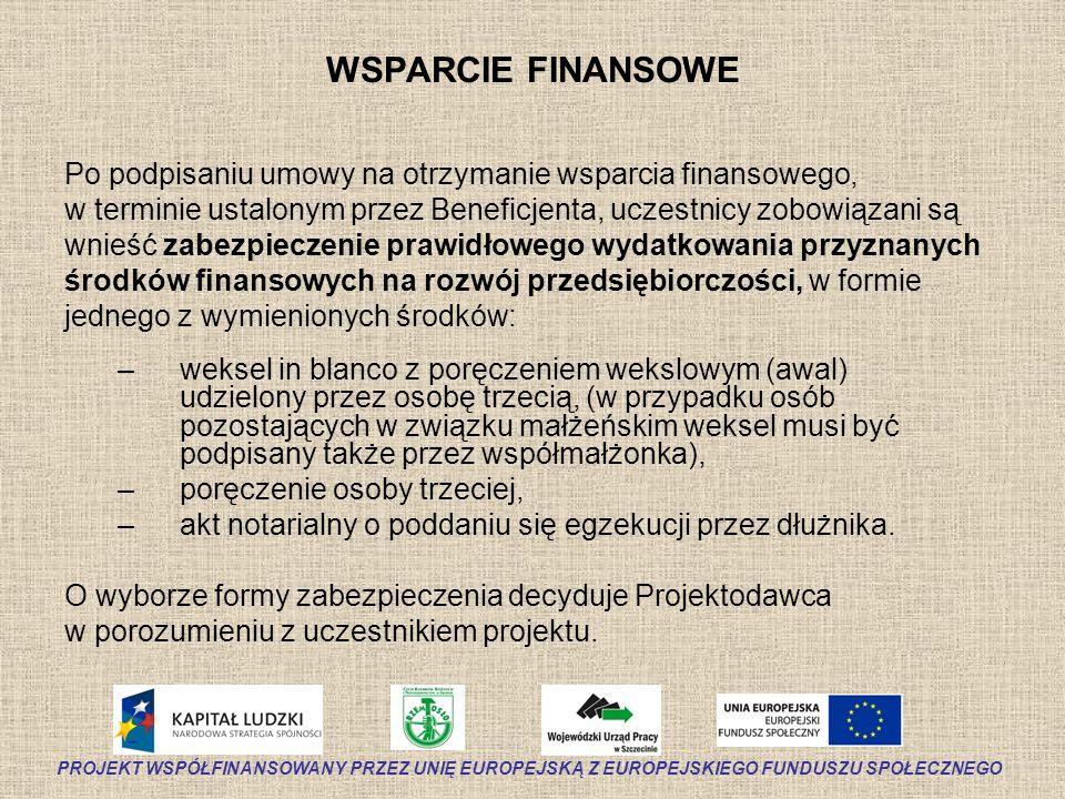 WSPARCIE FINANSOWE Po podpisaniu umowy na otrzymanie wsparcia finansowego, w terminie ustalonym przez Beneficjenta, uczestnicy zobowiązani są wnieść z