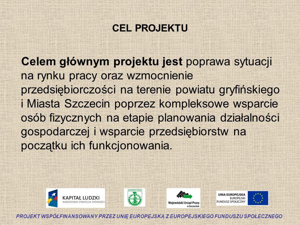 CEL PROJEKTU Celem głównym projektu jest poprawa sytuacji na rynku pracy oraz wzmocnienie przedsiębiorczości na terenie powiatu gryfińskiego i Miasta