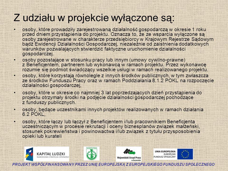Z udziału w projekcie wyłączone są: osoby, które prowadziły zarejestrowaną działalność gospodarczą w okresie 1 roku przed dniem przystąpienia do proje