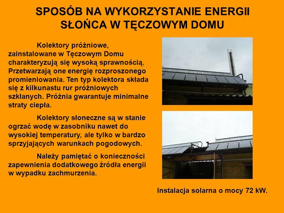 SPOSÓB NA WYKORZYSTANIE ENERGII SŁOŃCA W TĘCZOWYM DOMU Kolektory próżniowe, zainstalowane w Tęczowym Domu charakteryzują się wysoką sprawnością.
