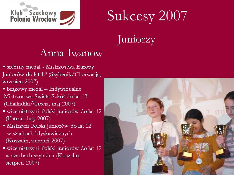 Sukcesy 2007 Juniorzy Anna Iwanow srebrny medal - Mistrzostwa Europy Juniorów do lat 12 (Szybenik/Chorwacja, wrzesień 2007) brązowy medal – Indywidual