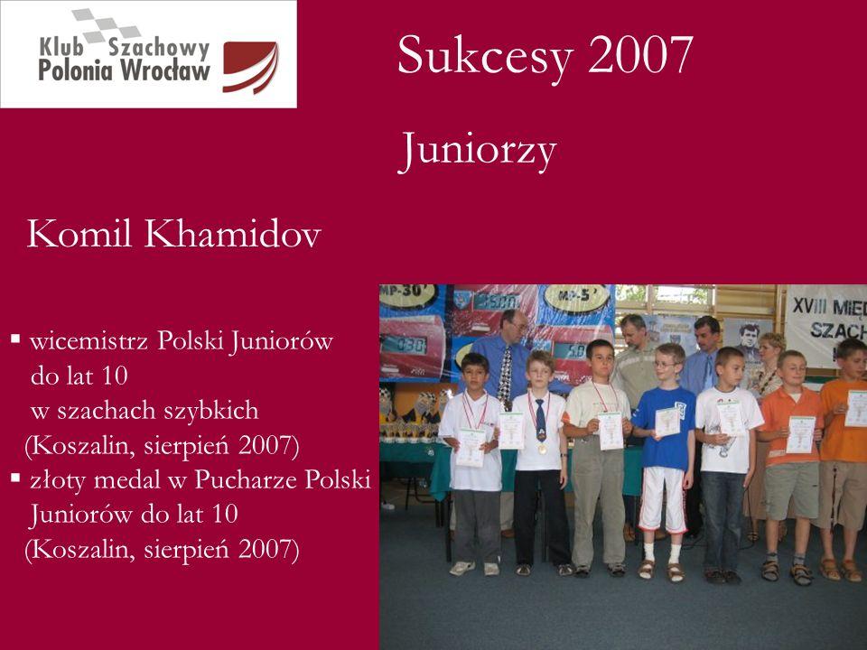 Sukcesy 2007 Juniorzy Komil Khamidov wicemistrz Polski Juniorów do lat 10 w szachach szybkich (Koszalin, sierpień 2007) złoty medal w Pucharze Polski