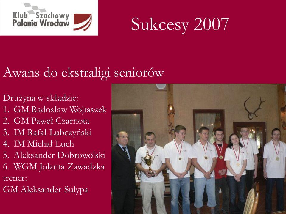 Sukcesy 2007 Awans do ekstraligi seniorów Drużyna w składzie: 1.GM Radosław Wojtaszek 2.GM Paweł Czarnota 3.IM Rafał Lubczyński 4.IM Michał Luch 5.Ale