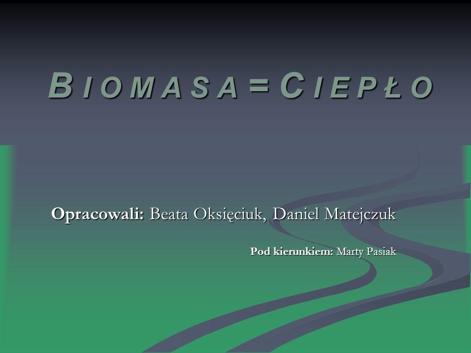 B I O M A S A = C I E P Ł O Opracowali: Beata Oksięciuk, Daniel Matejczuk Pod kierunkiem: Marty Pasiak