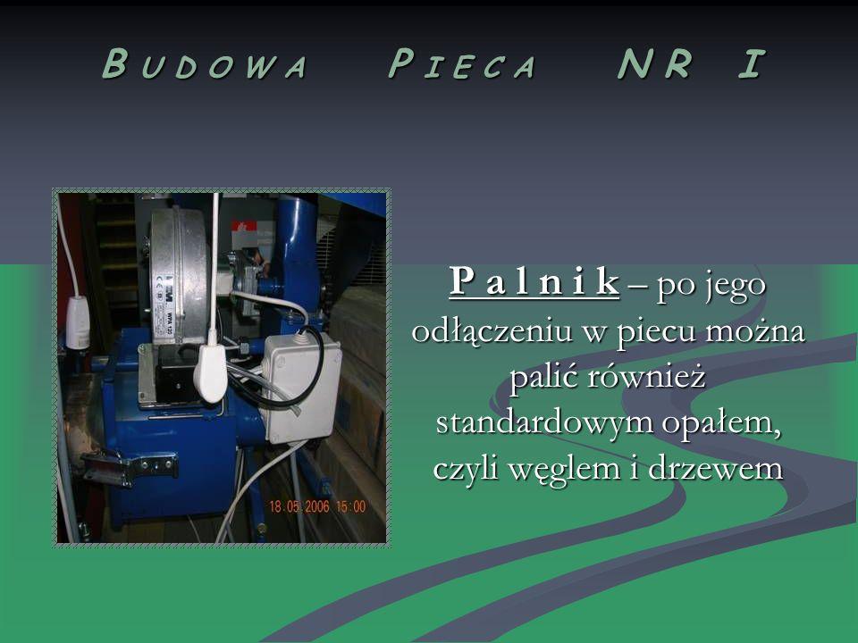 B U D O W A P I E C A N R I P a l n i k – po jego odłączeniu w piecu można palić również standardowym opałem, czyli węglem i drzewem