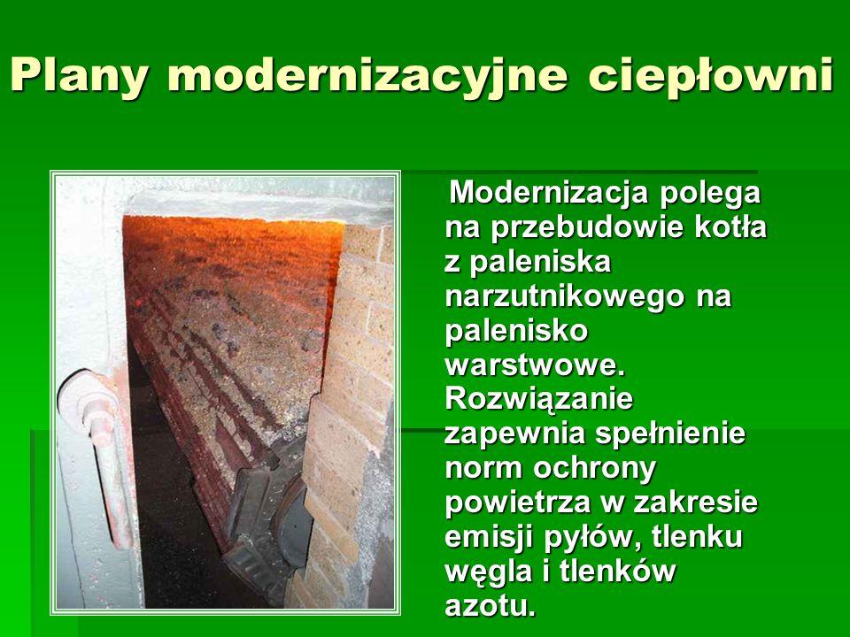 Plany modernizacyjne ciepłowni Modernizacja polega na przebudowie kotła z paleniska narzutnikowego na palenisko warstwowe. Rozwiązanie zapewnia spełni