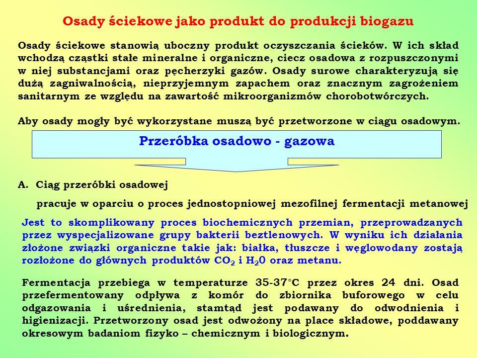 Osady ściekowe jako produkt do produkcji biogazu Osady ściekowe stanowią uboczny produkt oczyszczania ścieków. W ich skład wchodzą cząstki stałe miner