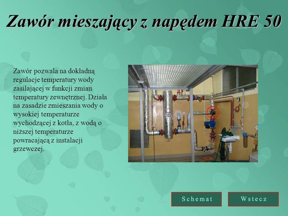 Zawór mieszający z napędem HRE 50 Zawór pozwala na dokładną regulacje temperatury wody zasilającej w funkcji zmian temperatury zewnętrznej.