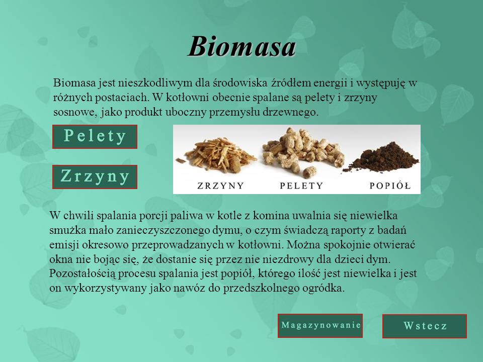 Biomasa Biomasa jest nieszkodliwym dla środowiska źródłem energii i występuję w różnych postaciach. W kotłowni obecnie spalane są pelety i zrzyny sosn