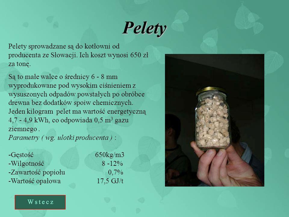 Pelety Pelety sprowadzane są do kotłowni od producenta ze Słowacji. Ich koszt wynosi 650 zł za tonę. Są to małe walce o średnicy 6 - 8 mm wyprodukowan