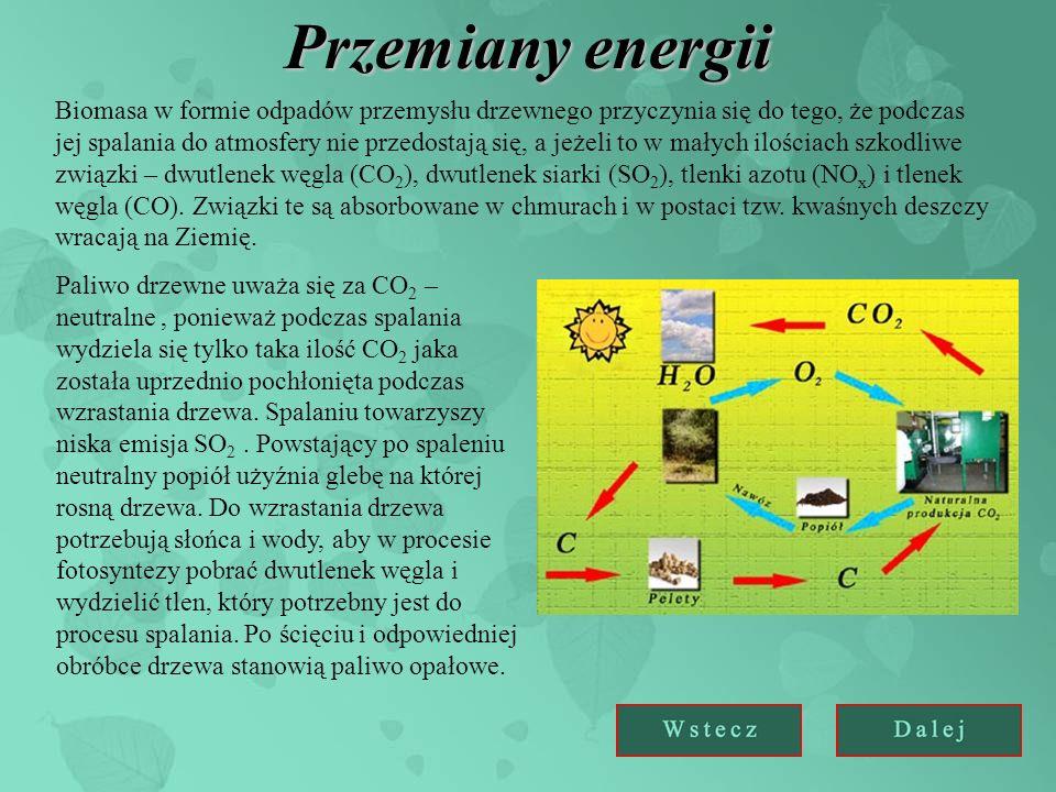 Przemiany energii Biomasa w formie odpadów przemysłu drzewnego przyczynia się do tego, że podczas jej spalania do atmosfery nie przedostają się, a jeżeli to w małych ilościach szkodliwe związki – dwutlenek węgla (CO 2 ), dwutlenek siarki (SO 2 ), tlenki azotu (NO x ) i tlenek węgla (CO).