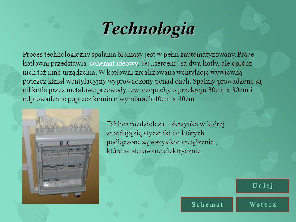 Technologia Proces technologiczny spalania biomasy jest w pełni zautomatyzowany. Pracę kotłowni przedstawia schemat ideowy. Jej sercem są dwa kotły, a