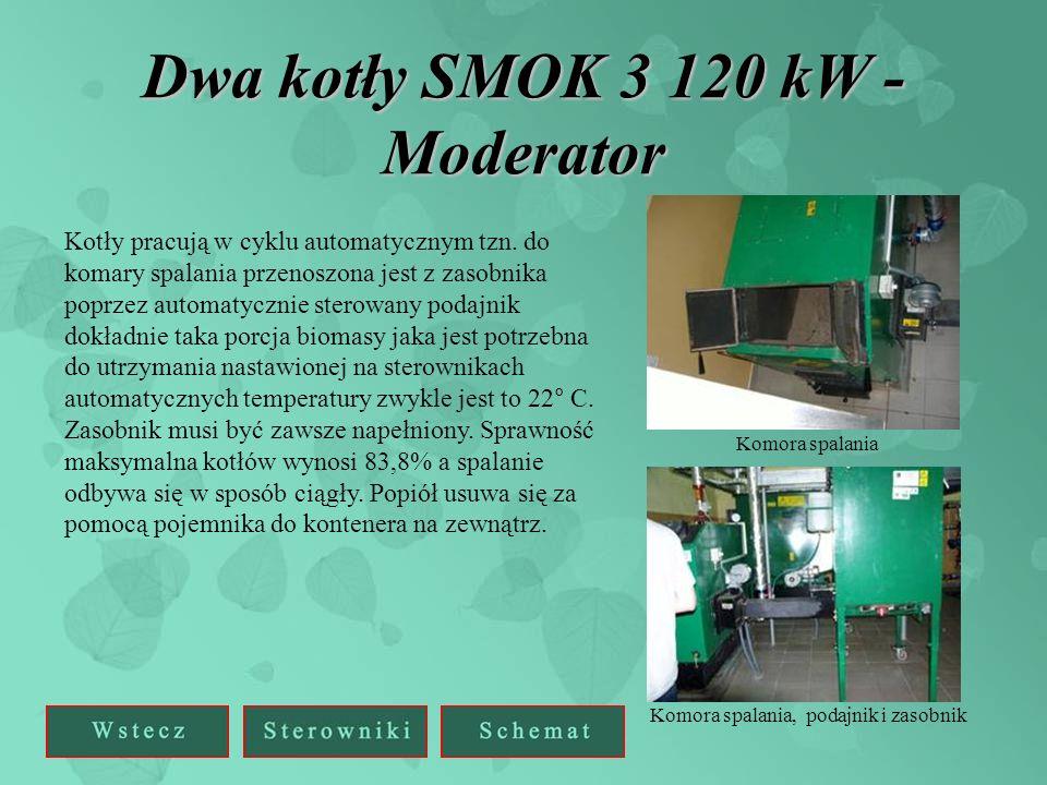 Dwa kotły SMOK 3 120 kW - Moderator Kotły pracują w cyklu automatycznym tzn. do komary spalania przenoszona jest z zasobnika poprzez automatycznie ste