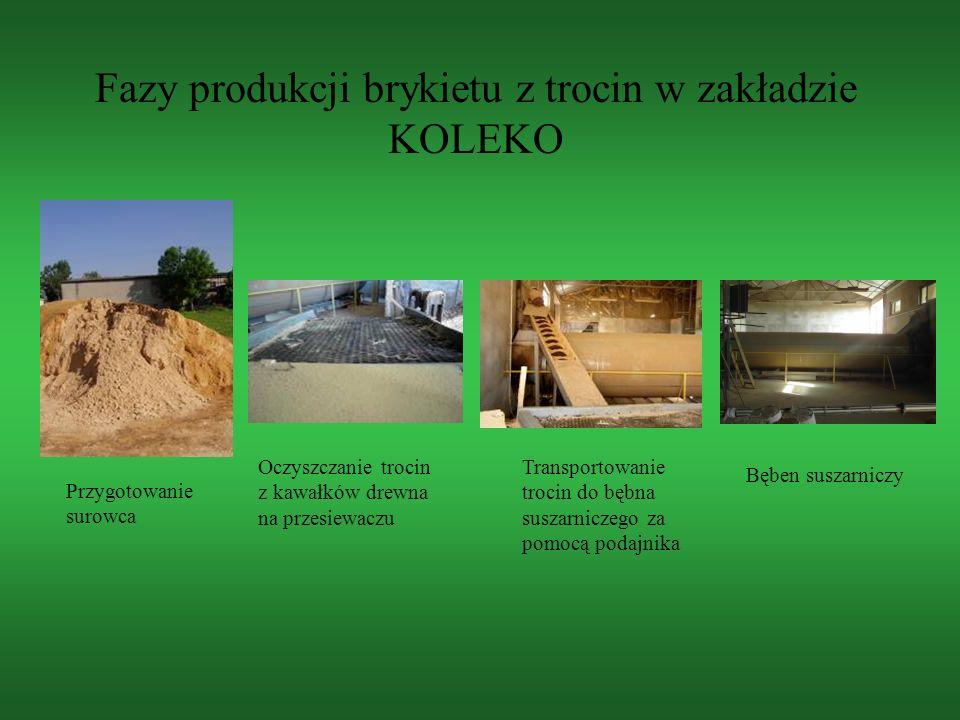 Fazy produkcji brykietu z trocin w zakładzie KOLEKO Przygotowanie surowca Oczyszczanie trocin z kawałków drewna na przesiewaczu Transportowanie trocin